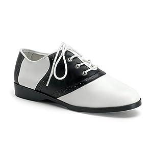 SADDLE-50, Flat Saddle Shoes Black/Wht Pu Size 9