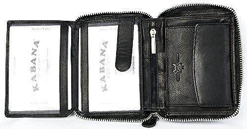 03. Men's Metal Zipper (Zip-around) Black Leather Wallet Kabana