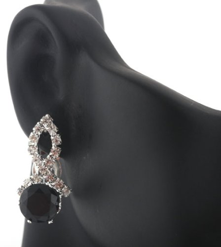 Ladies Silver Iced Out Ribbon Style with Black Stone Clip On Stud Earrings