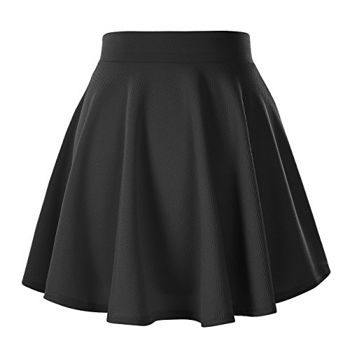 Women's Basic Solid Versatile Stretchy Flared Casual Mini Skater Skirt