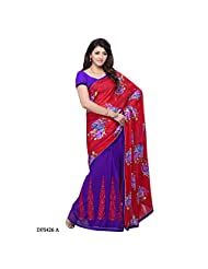 First Loot Red And Violet Color Jacquard And Georgette Saree