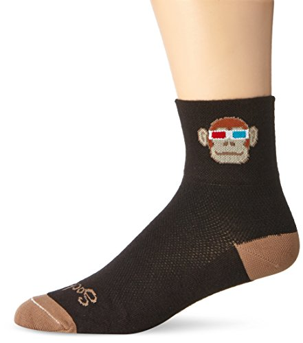 SockGuy Men's Monkey See 3D Socks, Black, Large/X-Large (Cycling Sock Guy compare prices)