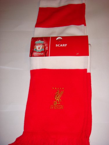 OFFICIAL LIVERPOOL FC CHAMPIONS OF EUROPE EMBROIDERED BAR SCARF