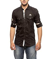 Groove Men Cotton Black Casual Shirt (Large)