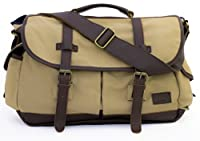 "High-End Canvas & Leather Messenger Bag 17"" Laptop - Serbags"