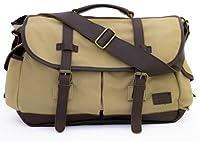 "High-End Canvas & Leather Messenger Bag 17"" Laptop - Serbags"