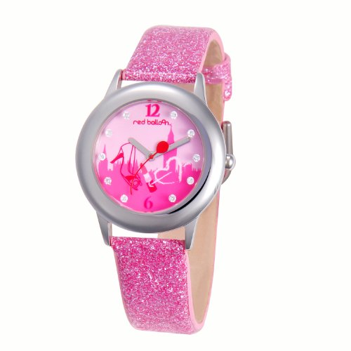 Red Balloon Kids' W000353 London Shopping Tween Glitz Stainless Steel Pink Glitter Leather Strap Watch