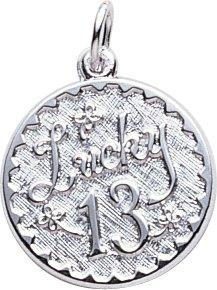 13th Birthday Charm, Sterling Silver