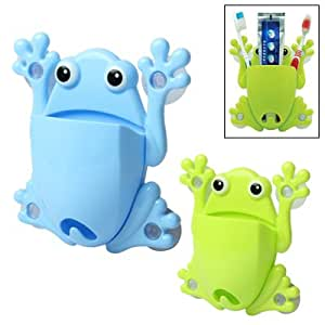 Frog Toothbrush Holder with 4 Suction Cups (Green)