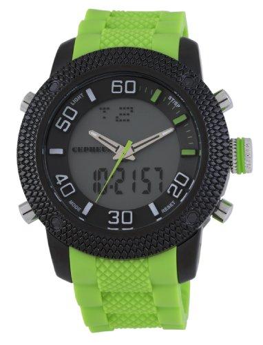 CEPHEUS CP903-620A - Reloj analógico y digital de cuarzo para hombre con correa de silicona, color verde