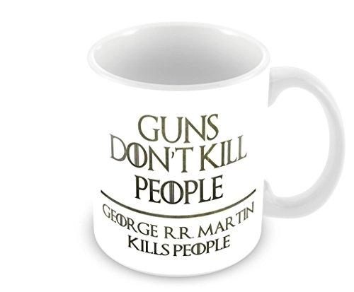 Geek Details Guns Don't Kill People George R.R. Martin Kills People Coffee Mug, 11 oz, White (R Coffee Mug compare prices)