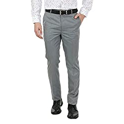 Zido Men'S Slim Fit Grey Formal Trouser_ZI15059_Grey