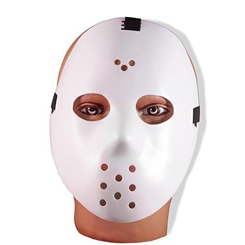 Friday the 13th Jason Voorhees Horror Movie Hockey Mask Scary Halloween Mask (White) (Hockey Mask Jason)