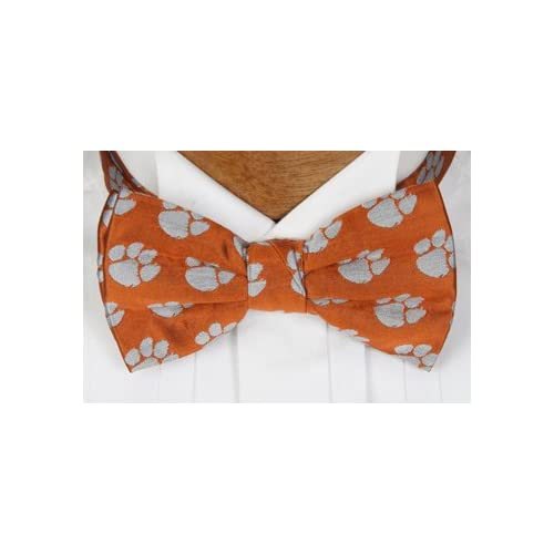 Clemson Bow Tie - Clemson University Orange Pre-Tied Bowtie with Tiger