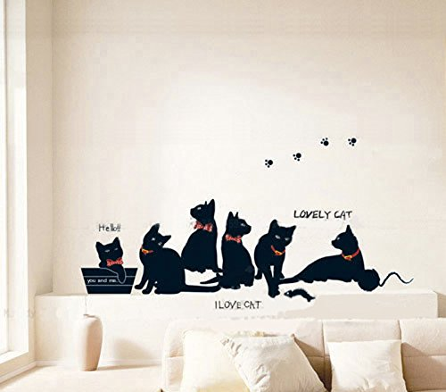[ORDERIN Wall Stickers I Love Cat Lovely Black Cat Family Cat Removable Mural Wall Decal Art for Home] (Animals That Start With The Letter M)