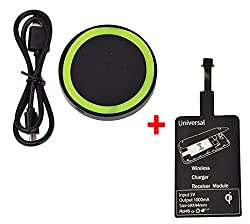"""KARPâ""""¢ Wireless Charging Kit (Wireless Charging Pad + Wireless Charging Module) For Samsung,Nokia Lumia,HTC,LG,Google Nexus and Other Qi-compliant Devices (D.Green On Black)"""