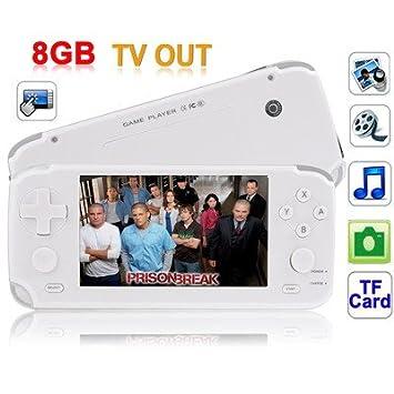 Gadget et Gift Ltd 4.3 inch TFT Ecran Tactile 8GB Lecteur MP5 avec Enceinte, BL-4L Batterie Amovible, Support Camera, E-Book, Jeux, TV Out, TF Carte Slot (fente) (Blanc)