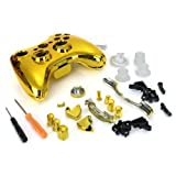 Dcolor Gold Chrome Full Housing Shell Case Cover for Xbox 360 Wireless Controller