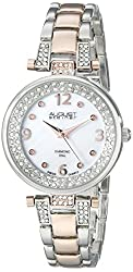 August Steiner Women's AS8137TTR  Round Genuine White Mother of Pearl Dial Three Hand Quartz Movement Two Tone Bracelet Watch