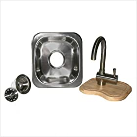 "Opella 13209STG 12"" Square SS Sink Package Brushed Finish"