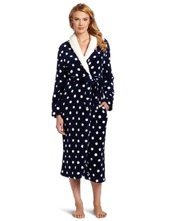 Dearfoams Women's Sherpa Shawl Printed Long Robe, Blue Hot Dots, Small