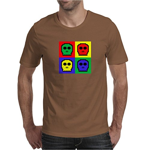 8-bit 4 color skulls Mens T-Shirt Chocolate / Large