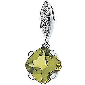 Genuine IceCarats Designer Jewelry Gift 14K White Gold Genuine Peridot And Diamond Pendant