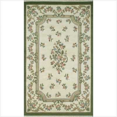 American Home Rug Co. 2001IYEM French Country 2001 Aubusson Ivory / Emerald Floral Rug