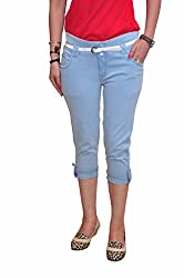 Ellis Eye Blue Stretchable Poly Cotton Capri with White Belt