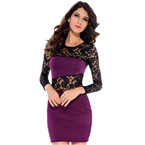 Towallmark(Tm)Sexy Women Lace Sleeved Patchwork Party Penicl Summer Prom Dress (M, Purple)