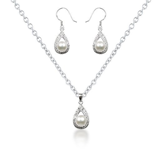 Mothers Day Gifts Bling Jewelry 925 Silver Freshwater Pearl Teardrop Earrings Necklace Bridal Jewelry Set 16