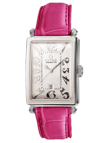 Gevril Women's 7040N.10B White Guilloched Dial Genuine Alligator Strap Watch
