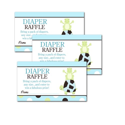 Pond Frog and Turtle Baby Shower Diaper Raffle Tickets 20-pack