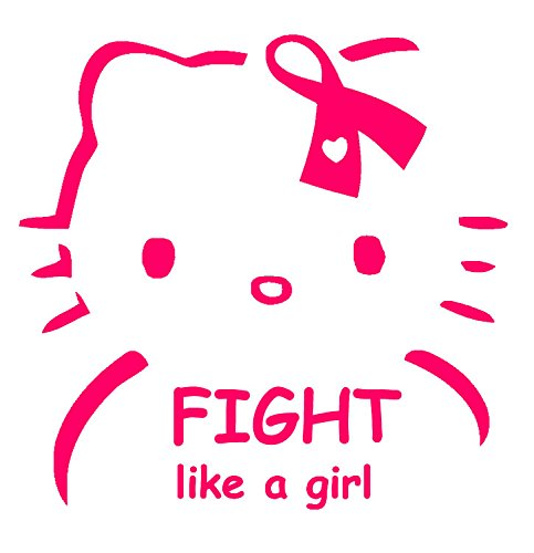"""Hello Kitty Fight Like A Girl 6"""" Pink Vinyl Car Truck Decal Sticker Awareness Lifestyle Pride"""