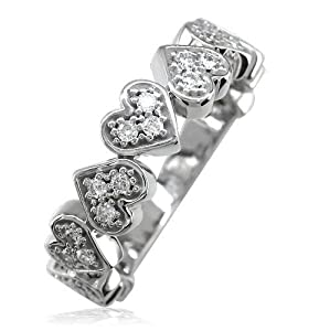 Diamond Hearts Band,9 Hearts,0.27CT # 4892 in 18k Yellow Gold - size 12