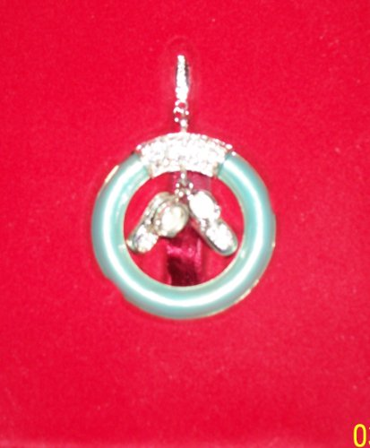 Lenox Porcelain Collectible Jeweled Blue Baby Teething Ring Silver Plated Christmas Ornament Nib! front-897080
