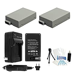 2-Pack LP-E8 High-Capacity Replacement Batteries with Rapid Travel Charger for Select Canon EOS Digital Cameras. UltraPro Bundle Includes: Camera Cleaning Kit, Screen Protector, Mini Travel Tripod