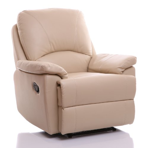 Global Furniture Alliance Worcester Bonded Leather Fully Upholstered Recliner Chair, Cream