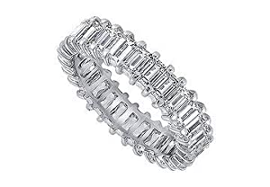 Unique Jewelry SCPTBU500D240 Platinum Diamond Eternity Band - 5.00 CT Diamonds - Size 7