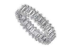 Unique Jewelry SCPTBU500D240 Platinum Diamond Eternity Band - 5.00 CT Diamonds - Size 7