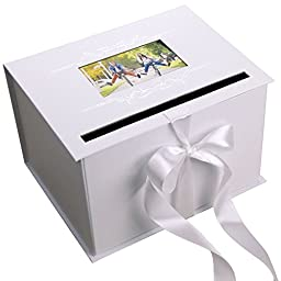 Airflint Wedding Gift Card Box, Wedding Reception in White & Silver with Satin Ribbon