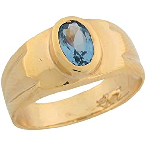 14k Real Yellow Gold Synthetic Blue Zircon December Birthstone Ring