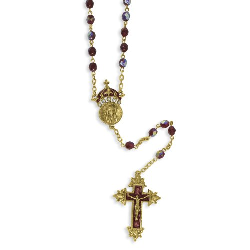 Gold-tone King of Kings Crucifix 28in Rosary
