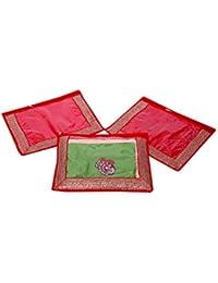 Kuber Industries Single Packing Saree Cover Set Of 3 Pcs (Designer Lace) - B01H97XJ3Q