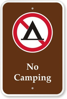 """No Camping (With Graphic) Sign, 18"""" X 12"""" front-596037"""