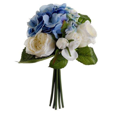 """11"""" Hydrangea & Rose Silk Flower Bouquet -Blue/White (case of 6)"""