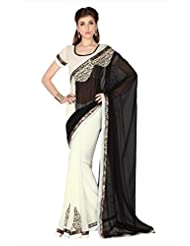Designersareez Women Black & White Faux Georgette Saree With Unstitched Blouse (1765)
