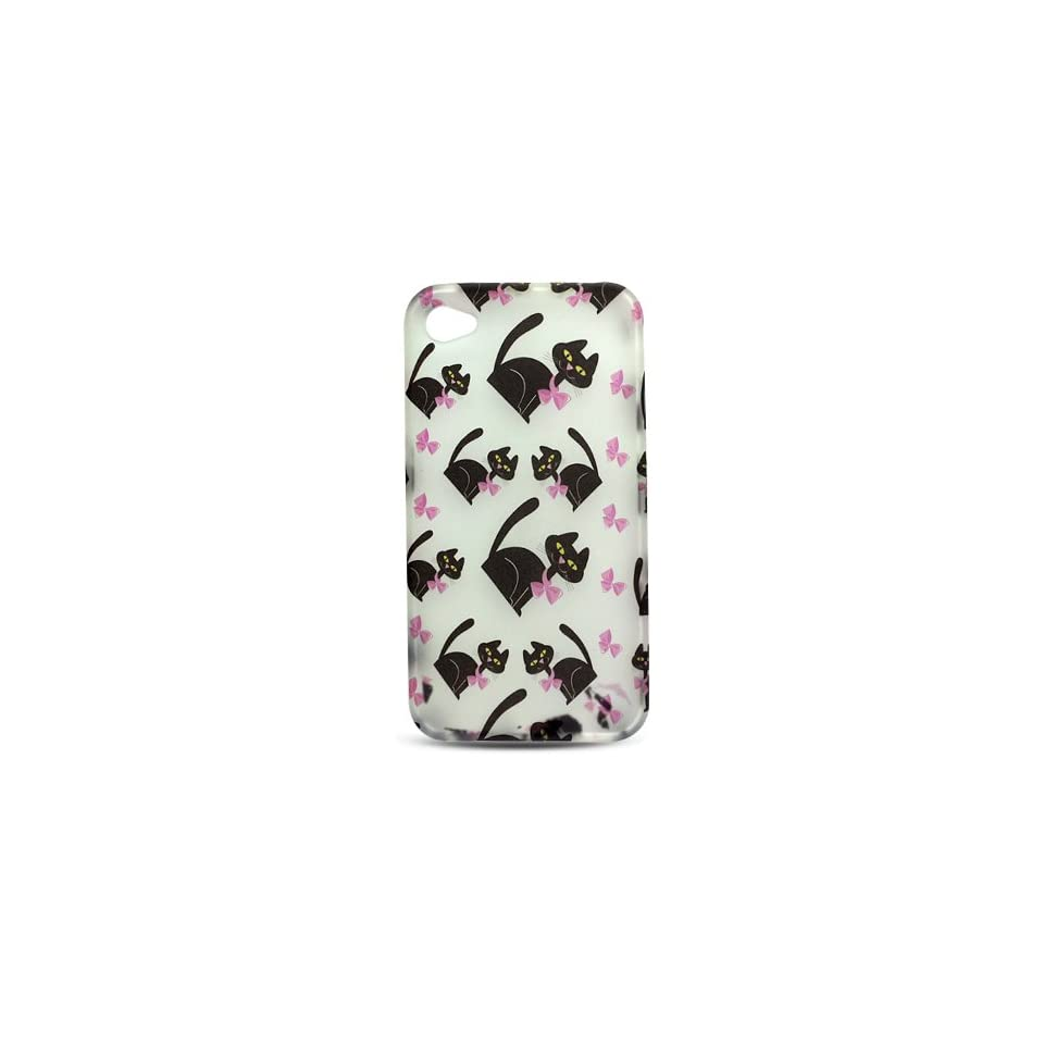 White with Black Kitty Cat and Pink Bow Soft Silicone Skin Gel Cover Case for Apple Iphone 4 Gen / 4th Generation / 4G + Microfiber Bag