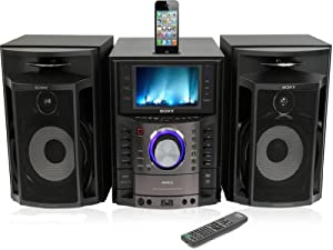 "Sony MHC-GZR333iA DVD/CD Karaoke Boombox Speaker Dock Shelf System GENEZI AM/FM Radio iPod/iPhone Dock 3-Disc DVD/CD Player Component System with Built-In 7"" LCD Screen by Sony"