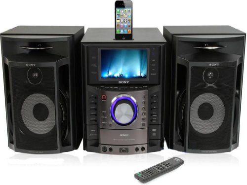 "Sony Mhc-Gzr333Ia Dvd/Cd Karaoke Boombox Speaker Dock Shelf System Genezi Am/Fm Radio Ipod/Iphone Dock 3-Disc Dvd/Cd Player Component System With Built-In 7"" Lcd Screen"